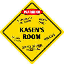 "*Aluminum* Kasen's Room Kids Room Door 12""x12""  Metal Novelty Sign"