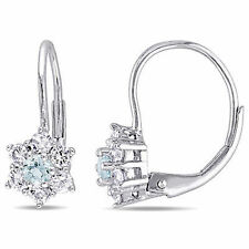 Amour 10k White Gold Aquamarine and White Sapphire Star Leverback Stud Earrings