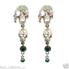 Vintage Skull Long Earrings Green Austrian Crystal Bronze Tone Rock Punk Gothic