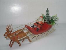 "11-1/2"" VINTAGE SOFT PLASTIC SANTA CLAUS WITH 2 REINDEER IN SLEIGH WITH TREE"