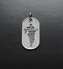 Dog tag inspired by Battlefield 4 game made from white bronze