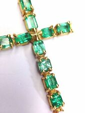 Gorgeous! Large AAA Quality Colombian Emerald 18K Yellow Gold Cross Pendant