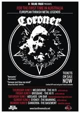 CORONER 2014 Australian Tour Poster A2 Mental Vortex Grin R.I.P. THRASH ***NEW