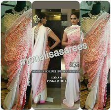 BOLLYWOOD DESIGNER BT 126 SONAM PINK AND WHITE SAREE INDIAN PAKISTANI FASHION