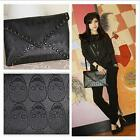 Womens Punk Skull Spike Envelope PU Leather Lady Clutch Handbag Bag Black JAZZ