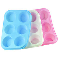 6 Cup Large Silicone Bun/Muffin Non Stick Tin Tray Baking Pudding Mould