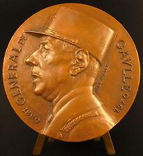 Large médaille festonnée 416g Profil du Général De Gaulle s De Jaeger 1975 Medal