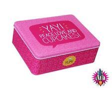 Felice Jackson Peace Love & Cupcakes grande scatola di latta di stoccaggio rettangolare Biscotto
