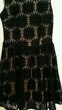 Ladies Black lace Dress with Beige lining Size 10