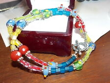 "Fun Art Glass Cube Bead Silver tone 18"" Necklace Red Blue Green Yellow 12a 6"