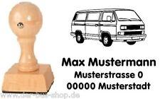 VW Bus T3 b - Bus - Motiv-Holz-Stempel - mit Wunschtext