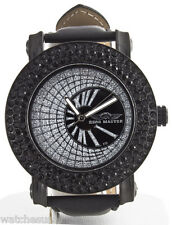 King Master Men's 4ct Black Lab-made Diamond Ion-plated Case Leather Band 109