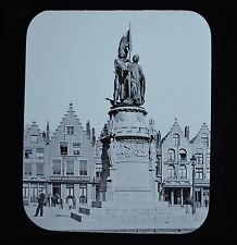 Magic Lantern Slide Bruges Statue Of Jan Breydel & Pieter De Coninck Newton & Co