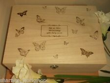 Botanical Butterfly Engraved A4 Size Wooden Memory Box Personalised Wedding Gift