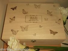 Botanical Butterfly Engraved Medium Wooden Memory Box Personalised Wedding Gift