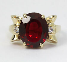 Vintage ruby spinel bow ring 14K yellow gold oval round brilliant 5.00CT sz 5.25