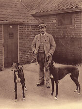 GREYHOUND CHARMING DOG GREETINGS NOTE CARD MAN HOLDING TWO DOGS IN KENNEL YARD