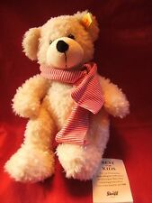 """STEIFF TEDDY BEAR SOFT TOY CREAM 11"""" APPROX WITH TAGS AND EAR BUTTON VGC"""
