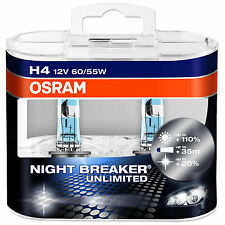 OSRAM Night Breaker Unlimited Plus 110% More Light H4 Car Bulbs 64193NBU-HCB
