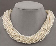 """12 strands Very beautiful AAA+ south sea white seed pearl twisted necklace 18"""""""