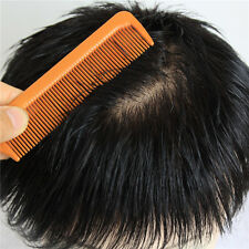 100% fine unprocessed human hair replacement system mens black toupee,free part