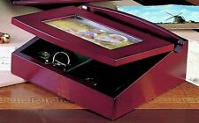 """Wooden Jewelry Box with Photo Frame Cover!   7.125"""" x 7.125"""" x 2.625"""""""