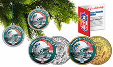 MIAMI DOLPHINS Christmas Tree Ornaments JFK Half Dollar US 2-Coin Set NFL