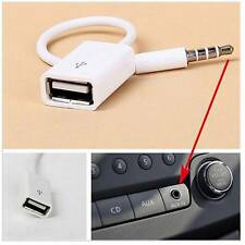 3.5mm Male AUX Audio Plug Jack to USB 2.0 Female Adapter Cable White