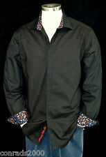 "Robert Graham ""Blackpool"" NWT $298 Black Detailed Embroidered Sports Shirt Large"