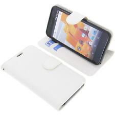 Tasche für Wileyfox Spark / Spark Plus Book-Style Schutz Hülle Handytasche Weiß