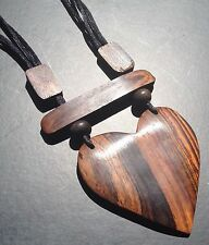 BOHO / LAGENLOOK 70'S ADJUSTABLE WOODEN HEART NECKLACE / PENDANT ON BLACK CORD