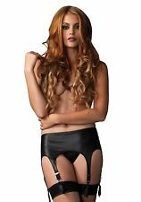 Seductive Matte Rubber Look Garter Belt with Adjustable Straps, Black