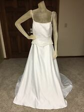 Alfred Angelo Wedding Dress Size 12 White Beaded Pre-owned -see details