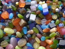 40g Assorted Cat Eye Glass Beads Cube Drop Faceted Oval (BOX127)