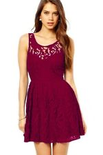 Gorgeous Skater Red Midi Dress in Lace with Open Back Berry
