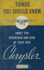 1937 Chrysler C-15 C15 C 15 Owners Manual User Guide Reference Operator Book OEM