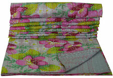 Gray Floral Handmade Indian Cotton Twin Kantha Quilt Bed spread Blanket Throw
