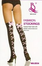 BLACK PINK CROSS BONES WITH SILK BOW OVER KNEE STOCKINGS