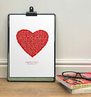VALENTINES GIFT for Her | Personalised song lyrics gift HEART PRINT | 1st dance