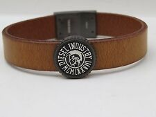 DIESEL LEATHER BRACELET AND CHARM, LOGO AND NAME, SNAP CLASP, DZ4429, NIB W/TAG