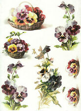 Rice Paper for Decoupage, Scrapbook Sheet, Craft Paper Pansies in Basket