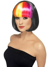 LADIES SHORT BLACK RAINBOW FRINGE BABE BOB WIG 20s 60s 70s COSTUME FANCY DRESS A