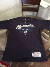 Milwaukee Brewers Majestic Blue T-Shirt Small Good Condition