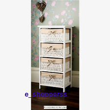 JULIET 4 DRAWER WICKER BASKET UNIT STORAGE CHEST WHITE NATURAL LINING HOME