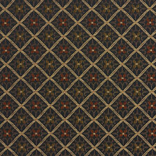E660 Diamond Black Gold Orange Damask Upholstery Drapery Fabric By The Yard