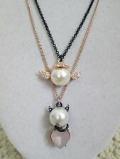 NWT Auth Betsey Johnson Pearl Critters Angel Devil Charm Pendant Chain Necklace