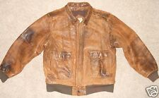 Distressed Leather Flight Bomber Jacket Coat Mens Brown South Channel Medium