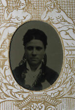 Photographie ancienne Ferrotype Tintype vers 1860 1870 femme portrait