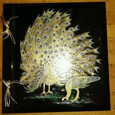 New Vintage Peacock Large Black Photo Album Purple Green