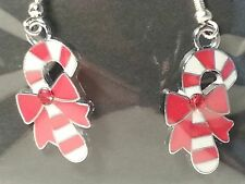 Red, & White Christmas Candy Cane & Bow Drop Style Hook Earrings-Fashion Jewelry